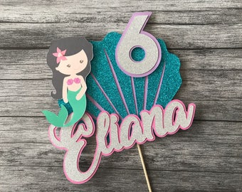 Personalised Mermaid Cake Topper, With Custom Name and age Mermaid Party, Birthday Party, Girl Party Decor