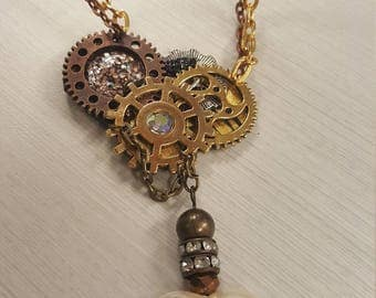 Mixed metal steampunk necklace