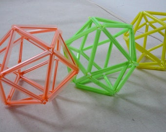 3 decorative balls neon color