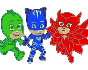 Pj Masks Catboy Gekko Owlette Applique Design Instant Download 3 sizes
