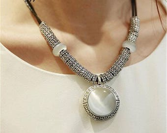 Fashion Opal Statement Necklaces, Pendants Women Necklace Jewelry