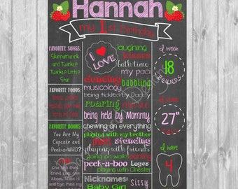 Strawberry First Birthday Chalkboard Poster - Digital