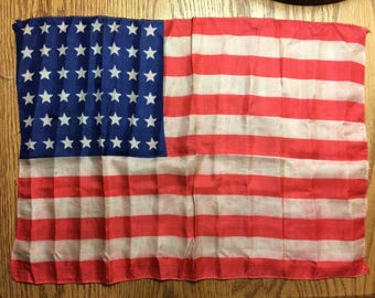 1940's Silk American Flag with 48 Stars