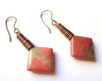 Copper and Rhodochrosite Earrings