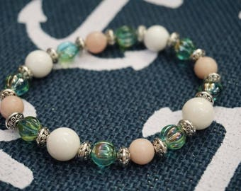 Aquamarine Melon Czech Glass and Sea Shell Beaded Bracelet with Sterling Silver