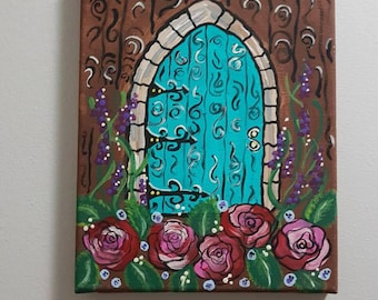 Fairy door acrylic painting 7×9 inch
