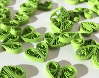 Quilled Hearts Paper Quilling Art Confetti Scatter Ornaments Gifts Fillers Valentines Mothers Day Baby Bridal Shower Wedding Green Lime