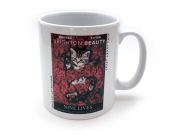 Cat Mug, Brighton Beauty Mug with Gift Box, Cat Lover Gift, Crazy Cat Lady, CCL Boutique, Cat, Mug, Brighton, Gift Box, Film Poster Design