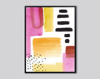 Downloadable print, abstract, Modern PRINTABLE wall art print, pink and black abstract art print, Instant Download abstract painting print,