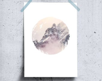 Nordic Mountain Poster, Misty Mountains Wall Art, Snow Mountain Art, Foggy Mountain, Printable Wilderness Minimalist Photo Art