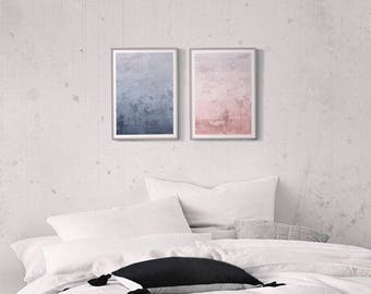 Dusty Blue and Pink Set of 2 Prints, Abstract Wall Art, 2 Piece Wall Art, Above Bed Decor, Apartment Decorating 2 Abstract Prints