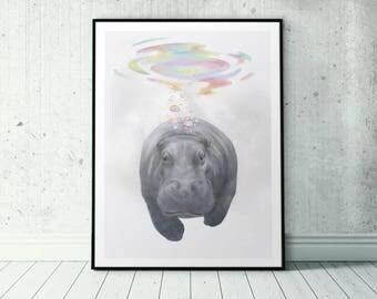 Funny Hippo Print, Hippopotamus Safari Drawing, Happy Hippo Poster, Hippo Art Printable Hippo Gift Safari Artwork, Quirky Animal Print