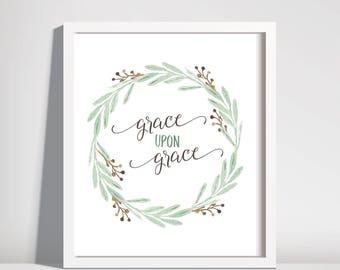 grace upon grace john 1:16 large-size downloads. printable. christian wall art. watercolor wreath. bible verse.