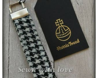 Original Harris Tweed wristlet, key ring, key fob, key chain, accessory, With orb label, Made in Scotland, Handmade, Black & white