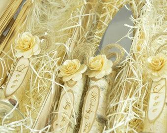 Wedding Set Cake Server Set Rose Gold Personalized Champagne Flutes Cake Servers Engraved Cake Server and Knife Wedding Glasses