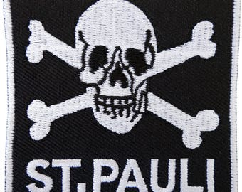 St. Pauli Germany Embroidered Iron Sew On Patch Skull and Crossbones Shirt Badge