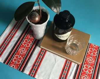 Mid Century Southwest Pattern Cross Stitch Table Runner, Small