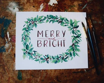 Holly Wreath Print - Merry and Bright Christmas