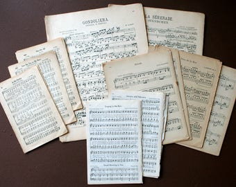 50 Pages of sheet music - Double sided - Music Craft Paper - Note Pages - Vintage Book Pages - Music sheet