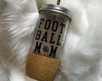 Football Mom mason jar tumbler// mason jar tumbler// personalized tumbler// glitter dipped mason jar