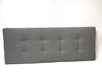 Grey Window Seat Cushion Custom Rave Graphite Welt(Piping), Buttons, Ties