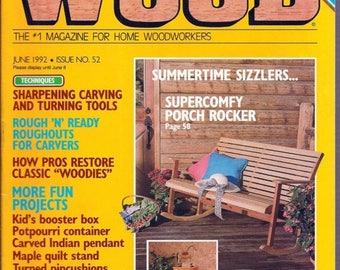 Summer Sale WOOD by Better Homes And Gardens June 1992 Issue No.52 For Home Woodworkers