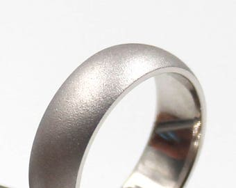 6mm Silver Round Comfort Fit Wedding Ring with  Satin Finish, wedding band