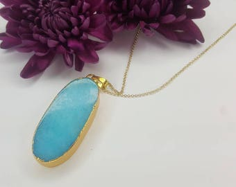 Druzy Oval Necklace - Blue Green Druzy - Gemstone Necklace - Gemstone Pendant - Gold Necklace - Long Necklace - 《the Olivia》