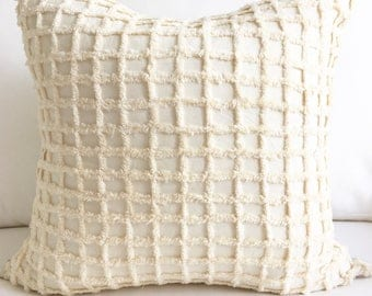 "20"" X 20"" Checkerboard Fringe Pillow Cover"