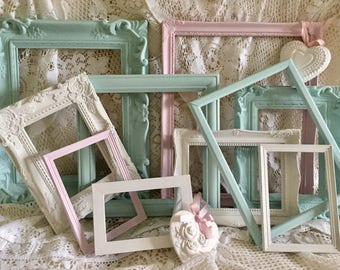 Shabby Chic Frames Ornate Painted Photo Picture Frames Vintage Frame Set Wall Decor Home Decor 12 frames  ** MADE TO ORDER **