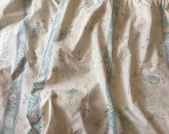 Vintage Floral Curtains Cottage Shabby Chic Curtains Drapes Cotton Curtains Duck Egg Blue Pink Ivory Floral Lined Curtains.