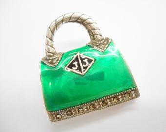 Purse brooch, Sterling Brooch, Vintage Brooch, Enamel Brooch, Sterling Silver Green Enamel Marcasite Purse Bag Brooch #3334
