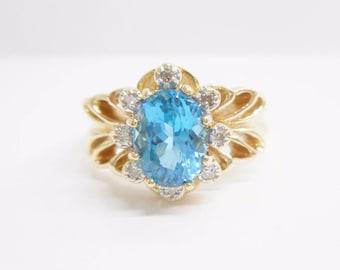 Blue Topaz Ring, Gold Ring, Topaz Ring, Blue Topaz Rings, 10k Yellow Gold 1.68 CTW Oval Blue Topaz Diamond Ring Sz 7.75 #2919