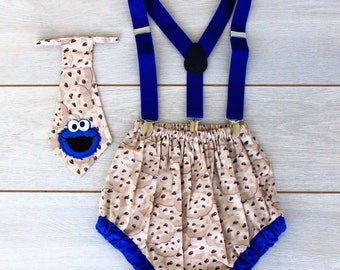3 Piece Cookie Monster Cake Smash Outfit - First Birthday Set