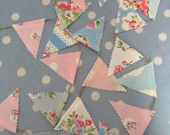 Teeny tiny mini bunting, banner,flag,pennant,shabby chic,wedding,event,bedroom,garden bunting in Cath kidston fabric