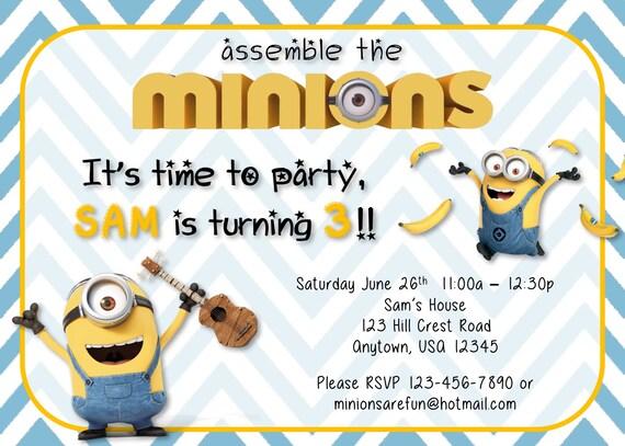 Minion Birthday Party Invitations Set - Custom Birthday Invitation - Birthday Banner - Birthday Iron On T-shirt Transfer