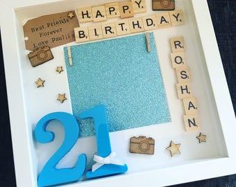21st birthday frame, themed birthday, 21st birthday gift, happy birthday, personalised birthday present, 21, unique gift,