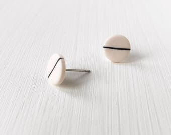 Monochrome earrings, minimalist jewellery, black and white studs, hypoallergenic earrings, Valentine's Day, gift under 10, modern jewelry