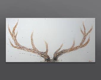 "Elk' 39"" x 19.6"" Original Acrylic Painting On Canvas"