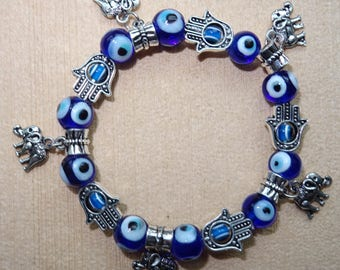 Blue Eye bracelet with elephants