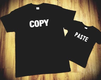 Fathers day tshirt set, fathers day gift,  dad gift,  dad and son tshirts, copy paste tshirts