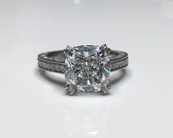 Estate Platinum GIA Certified 6.20 CTW Cushion Diamond Engagement Ring Size 5.5