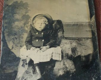Creepy Child:  Antique Tintype Photograph of Child With Slack Mouth and Unusual Eyes.  Is She Alive?