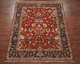Persian 8X10 Mahal Antiqued Hand-Knotted Area Rug Wool Oriental Carpet (8 x 10.2)