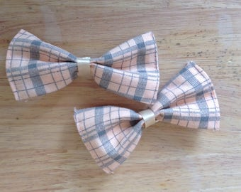 Pale pink and grey check hair bows