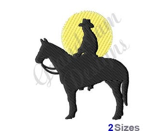 Horse And Rider Silhouette  - Machine Embroidery Design