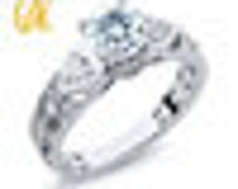 GemStoneKing Solid 925 Sterling Silver Vintage Ring Round Cut Natural Sky Blue Aquamarine Women's Ring