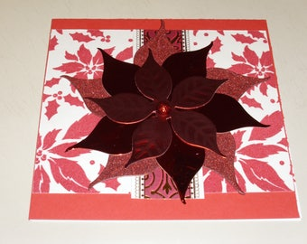 "6X6 Christmas Poinsettia Card ""Red"""