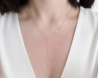 Free shipping! Lariat necklace, Gold Filled necklace, delicate CZ solitaire necklace, Y necklace, everyday layering necklace, dainty necklac