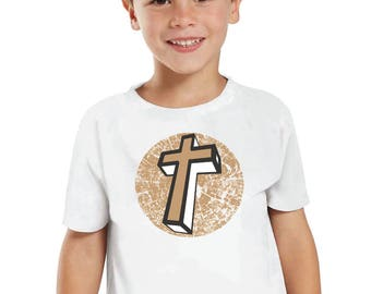 Kids Toddler/Youth Christian Cross Tshirt. Religion/Jesus/Faith